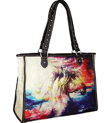 Montana West Horse Painting Western Canvas Tote Craft Beach Travel Shopping Purse Bag