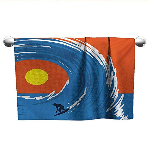 (alisoso Ride The Wave,Travel Towels Man Surfing in Giant Ocean Waves Retro Artistic Sports Poster Print Dry Fast Towel Violet Blue Scarlet W 24