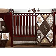 Sweet Jojo Designs 11-Piece Chocolate Brown Teddy Bear Baby Boys Bedding Crib Set Without Bumper