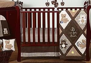 Sweet Jojo Designs 11-Piece Chocolate Brown Teddy Bear Baby Boys Bedding Crib Set Without Bumper