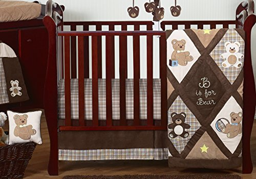 Sweet Jojo Designs 11-Piece Chocolate Brown Teddy Bear Baby Boys Bedding Crib Set Without Bumper ()