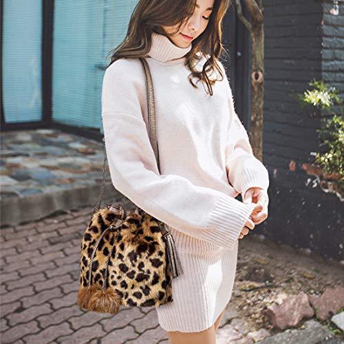 Fausse Main À Brun Soirée Fourrure Classique Bandoulière Mode Portés Dihope Shopping Femme Vintage Léopard Sac Sacoche Épaule xZqHnYw