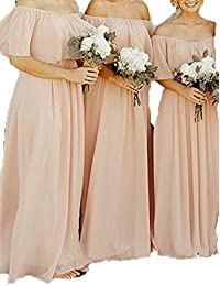 CLOTHKNOW Chiffon Bridesmaid Dresses Long Off The Shoulder Ruffles Women Girls