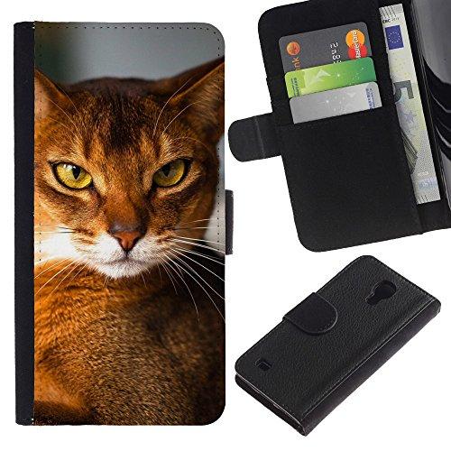 EuroCase - Samsung Galaxy S4 IV I9500 - Abyssinian chausie orange cat breed - Cuero PU Delgado caso cubierta Shell Armor Funda Case Cover