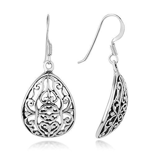925 Oxidized Sterling Silver Bali Inspired Open Filigree Curve Design Dangle Hook Earrings 1.2