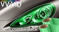 VViViD Emerald Green Gloss Vinyl Headlight Foglight Transparent Tint Wrap Self-Adhesive