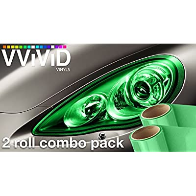 VViViD Air-Tint Emerald Green Gloss Vinyl Headlight Foglight Transparent Tint Wrap Self-Adhesive (12 Inch x 24 Inch, 2-roll Pack): Automotive