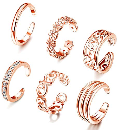 FIBO STEEL 6 Pcs Open Toe Rings for Women Girls CZ Band Toe Ring Flower Celtic Knot Simple Toe Ring Gifts Jewelry Set Adjustable ()