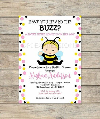 Amazon cute bumble bee baby shower invitations baby girl bee cute bumble bee baby shower invitations baby girl bee baby shower invites filmwisefo