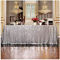 3E Home Sequin Tablecloth Cover for Dinner Wedding Birthday Party Reception Table Decor - Silver, 50x72