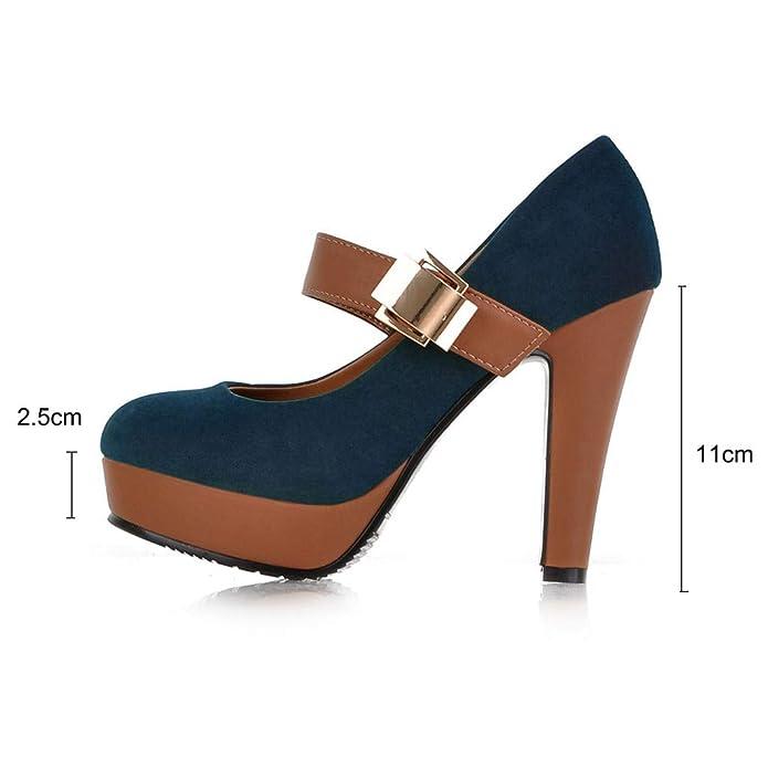 3c39de691c Zapatos de Tacón Alto Ancho Plataforma para Mujer Invierno Primavera 2019  PAOLIAN Zapatos Tacón Cuña Fiesta Elegantes Vestir Calzado de Trabajo Cuña  con ...