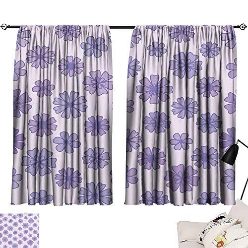 "Hariiuet Room Darkening Wide Curtains Seamless Flat Violet Flower Background Vector Floral Wallpaper 54""x63"",Bedroom Curtains Room Darkening Drapes"