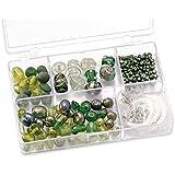 Knorr prandell 216049440 Sortimentsbox Glasperlen (11,5 x 7,5 x 2,5 cm, 80 g) grün