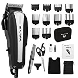 Beautural 20-Piece High Performance Haircutting Kit, Hair Trimmers, Clippers with Powerful and Durable Motor and Finest Precision Blades, Secure Guide Combs, Scissors, Barber Cape, Storage Case