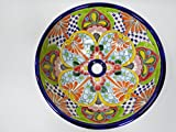 15'' ROUND TALAVERA SINK vessel, mexican bathroom sink, handmade ceramic, mexico folk art