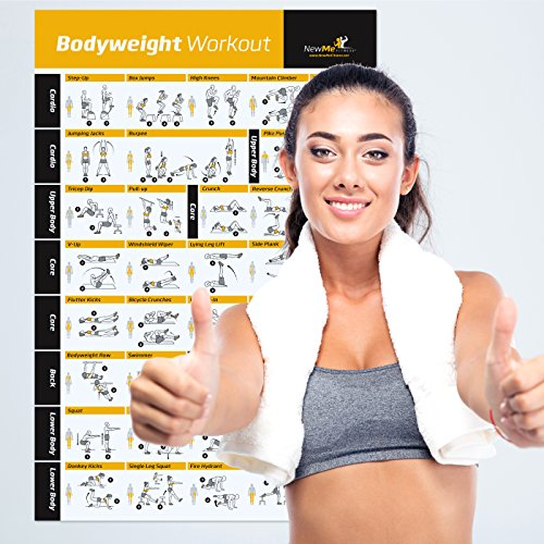 Bodyweight Exercise Poster - Total Body Workout - Personal Trainer Fitness Program - Home Gym Poster - Tones Core, Abs, Legs, Gluts & Upper Body - Improves Training Routine