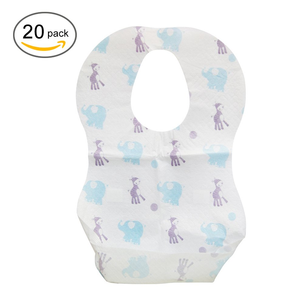 20pcs Disposable Bibs, Waterproof Non-Woven Fabric Eating Saliva Paper Bibs for Babies Lembeauty
