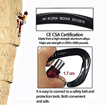 2 Pack Climbing Carabiner (25KN=5600 lb) D-Shaped Locking Carabiners Screw Lock Magnalium For Camping Hiking Yoga Hammock - Black