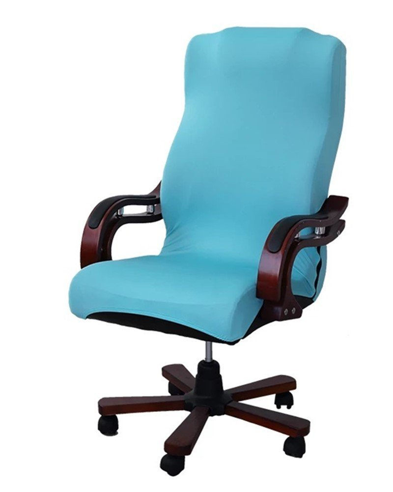 HOTCOOL Slipcovers Cloth Universal Computer Office Rotating Stretch Polyester Desk Chair Cover (Lake blue)