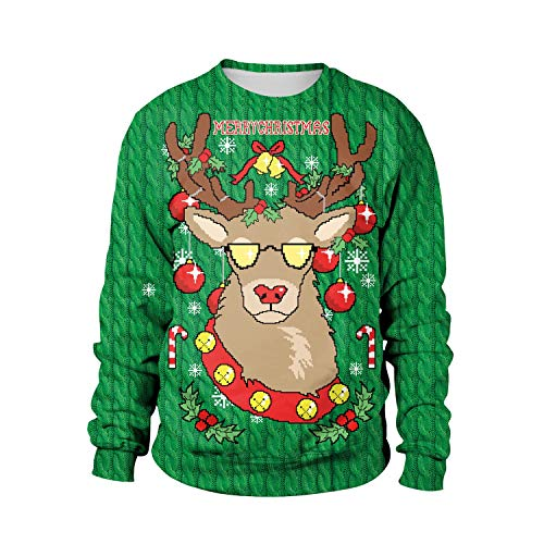 A418 Digital Lunga Elk Xl 3d Tcly Autunno fby Print Top Manica Maglione Natale Girocollo Serie Unisex Inverno Allentato fwqnxT1