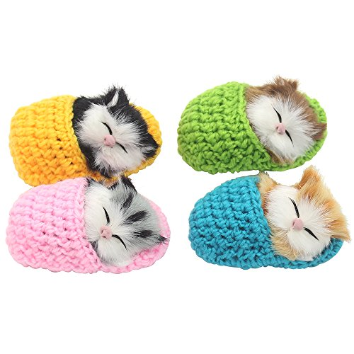- Cute Star 4Pcs Sleeping Cat in Slipper Doll Toy, Mini Kitten in Shoe with Meows Sounds Decor Hand Toy Gift for Kids Boys Girls