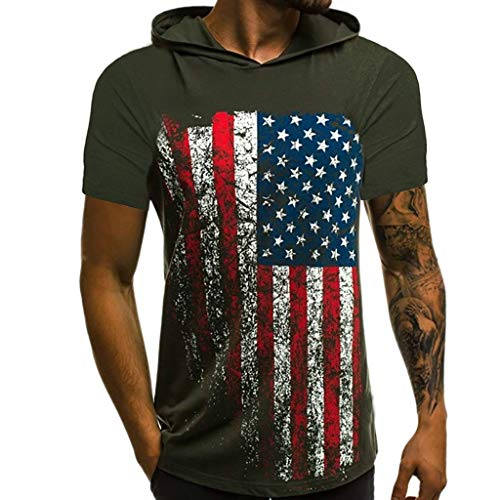 (MILIMIEYIK Men Hoodie Vest Independence Day American Flag Printed Sports Tank Fitness Sleeveless Muscle Running Undershirt)