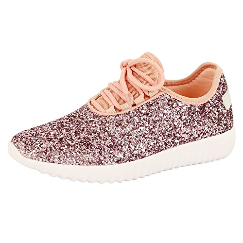 Guilty Shoes Fashion Glitter - Lace Up Slip On Wedge Platform Sneaker Boots, Pink Glitter, (Glitter Platform Boots)