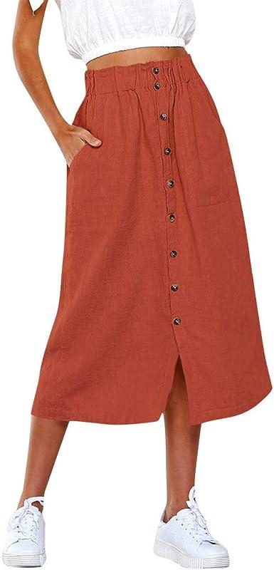 Geilisungren Falda para Mujer, Faldas de Plisadas con Bolsillo ...