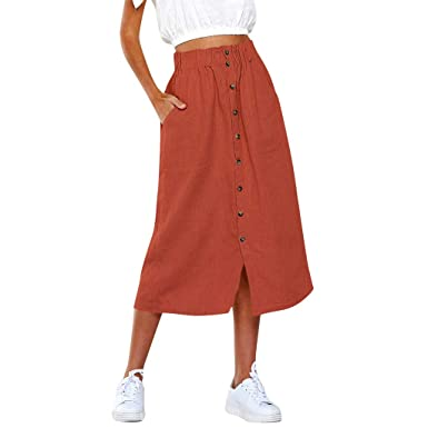 AOGOTO-Jupe Robe Daily Summer - Falda Larga para Mujer: Amazon.es ...