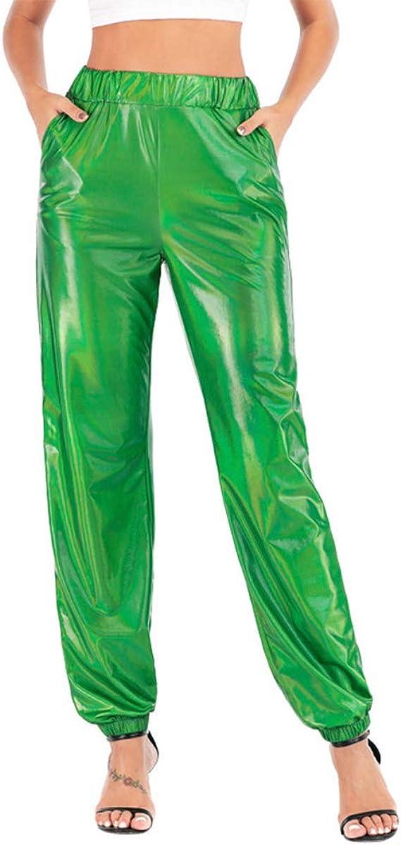 Mxssi Pantalones Chándal Góticos Mujer Pantalones Holograma Láser ...