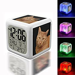 Digital Alarm Thermometer Night Glowing Cube 7 Colors Clock LED Customize the pattern 055.Cat, Feline, Orange, Cute, Cute Cat