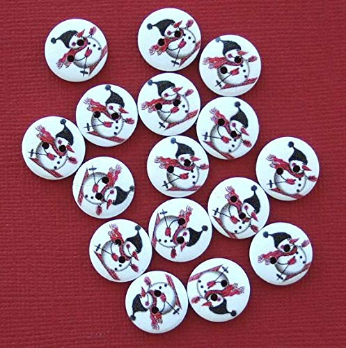 (20 Snowman Buttons Painted Wood Snowman on Skiis 15m Jewelry Making Supply Pendant Bracelet DIY Crafting by Wholesale Charms)