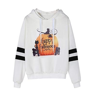 Moda Sudaderas para Mujer, Camisa de Calabaza de Halloween Mujers Camiseta Blusa del Bolsillo con cordón Sudadera Tops De Deportivo Basico Impresa para ...