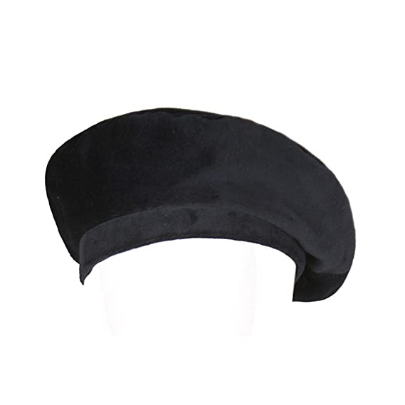 57b07af17d6e6 YOUMU Women Velvet Beanie Beret Cap Vintage Casual Military French Fashion  Flat Hat Black