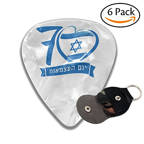 Fashion Israeli (BO9PIAN Independence Day 70 Jewish Israeli Flag Fashion 6 Pack Guitar Picks For Acoustic Guitar Gift For Daddy)