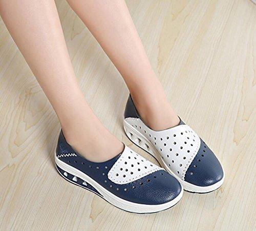 al o con Azul Marea Zapatos Cuero Casuales Orificios Zapatos Color Verano de Zapatos Zapatos Guisantes de Zapatos Mujeres Resistentes Zapatos de tama de 35 2018 para Mujer Desgaste qZRqF