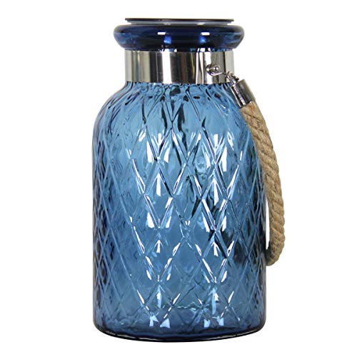 Exhart Solar Light Glass Lantern Jar - Blue Lantern in Diamond Patterned Glass Design w/Solar Firefly String Lights - Solar Glass Lamp for Backyard, Porch & Outdoor Decorations, 6