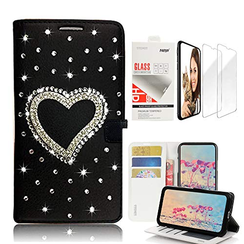 9 Heart Design - STENES Bling Wallet Case Compatible with Samsung Galaxy Note 9, 3D Handmade Heart Design Leather Case with Wrist Strap & Screen Protector [2 Pack] - Black