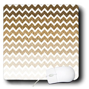 3drose Gold Hombre Chevron Image of Glitter - Mouse Pad