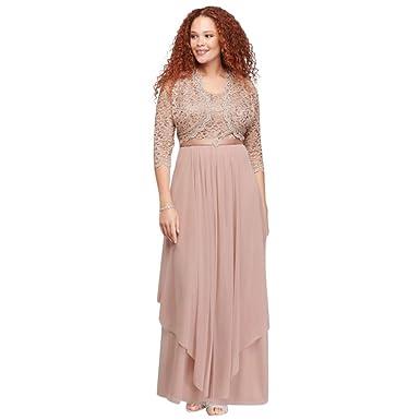 Davids Bridal Sequin Lace And Chiffon Plus Size Bolero Mother Of
