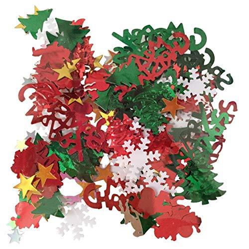 BinaryABC Christmas Table Confetti,Christmas Decoration,Snowflakes Reindeer Santa Clau Stars Christmas Tree Confetti(15g)