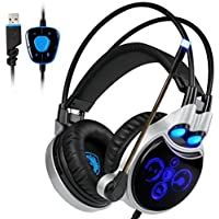 PC PS4 Gaming Headset , SADES R8 7.1 Surround Sound Gaming Headphone USB Over-Ear Headphone with Microphone LED Light