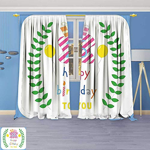 Philiphome Bedroom Blackout Curtains Panels Window,Decorations Cute Striped Surprise Boxes Balloons and Leaves Presents Artwork Multicolor Treatment Thermal Insulated for Living (Newport Light 100 Box)