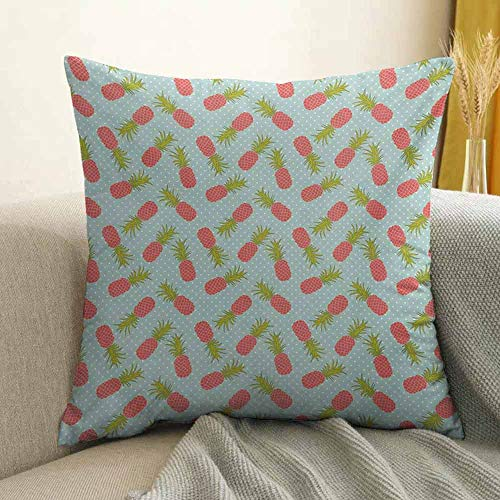 Vintage Silky Pillowcase Traditional Polka Dotted Background with Doodle Style Pineapple Super Soft and Luxurious Pillowcase W24 x L24 Inch Pale Blue Dark Coral and ()