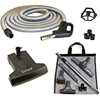 Central Vacuum Turbo Brush Cleaning Set Featuring a Vacuflo TurboCat Power Nozzle, 35-foot Electriflex On-Off Switch Gas Pump Handle Hose, Tool Set, in Black and Silver-Gray