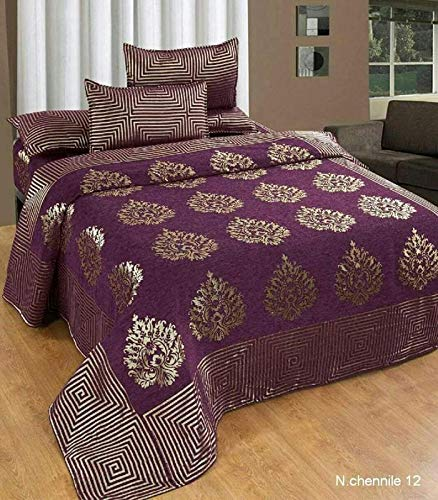 Premium Chenille Bed Cover with 2 Pillow Covers from Smiling Home | King Size | Wine