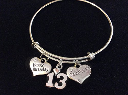 Daughter Happy Birthday 13th Expandable Charm Bracelet Adjustable Bangle Trendy Gift 13 year birthday