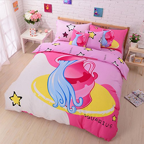 100% Cotton Cute Style Cartoon Bedding Set Twelve Constellation Printed Duvet Cover Set The Zodiac Duvet Cover Flat Sheet with Pillow Shame,No Comforter,Full Size (Aquarius,#6)