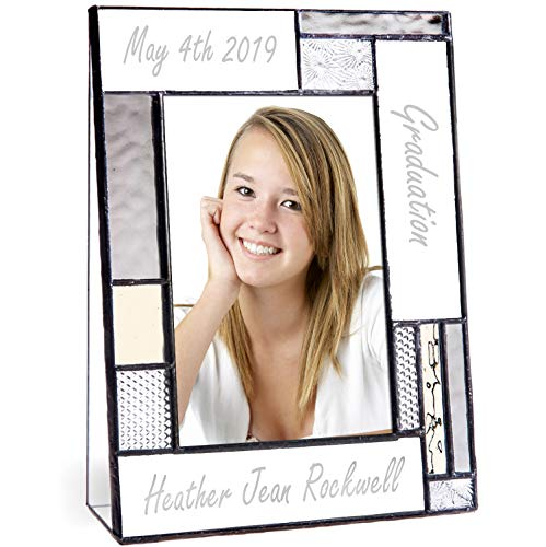 Graduation Picture Frames Custom Engraved Glass 4x6 Vertical Photo Class of 2019 College High School Middle Graduate Grey and Antique Yellow J Devlin Pic 392-46V EP613