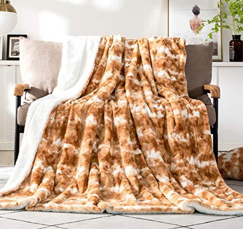DaDa Bedding Luxury Throw Blanket for Couch, Sofa, or Bed - Pumpkin Orange Brown Rabbit Faux Fur Sherpa - Super Soft Warm Plush Cozy Animal Print - Dreamy Cloud White & Copper Amber - 63